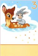 Age 3 Bambi and Thumper Birthday Card